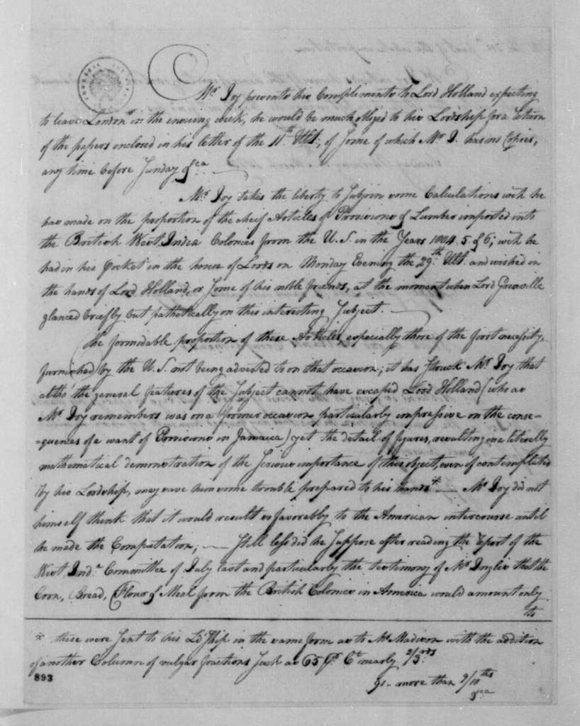 George Joy to Lord Holland, March 8, 1808. Includes a response from Lord Holland dated Mar. 8, 1808.