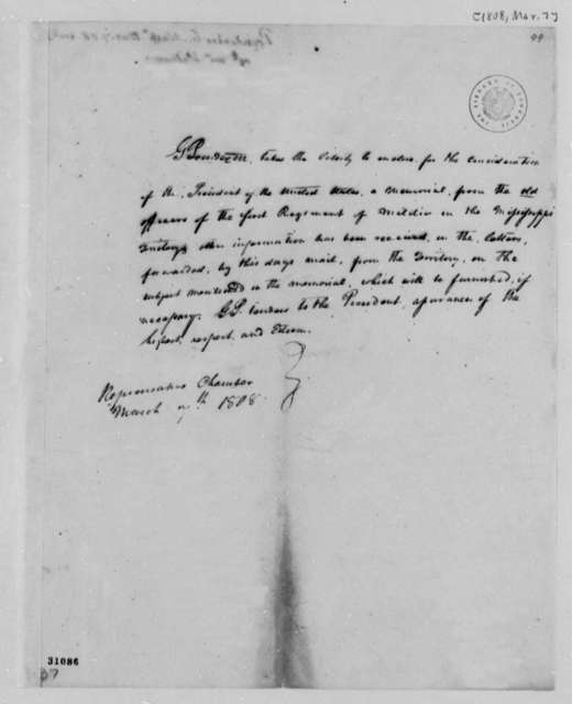 George Poindexter to Thomas Jefferson, March 7, 1808