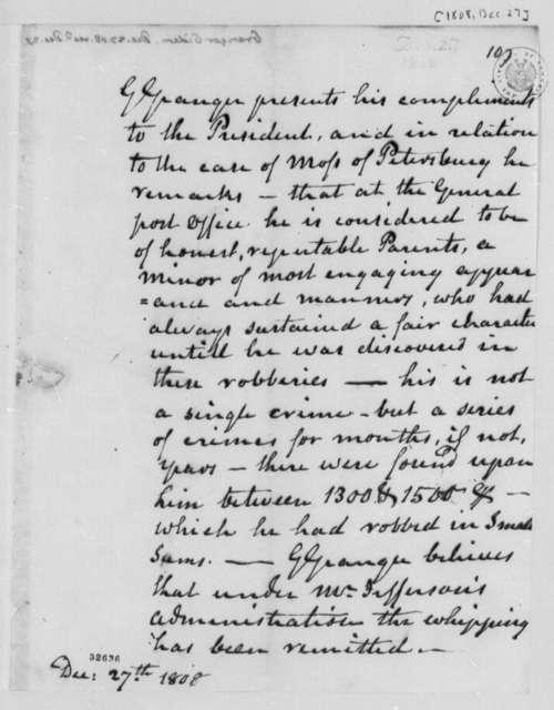Gideon Granger to Thomas Jefferson, December 27, 1808