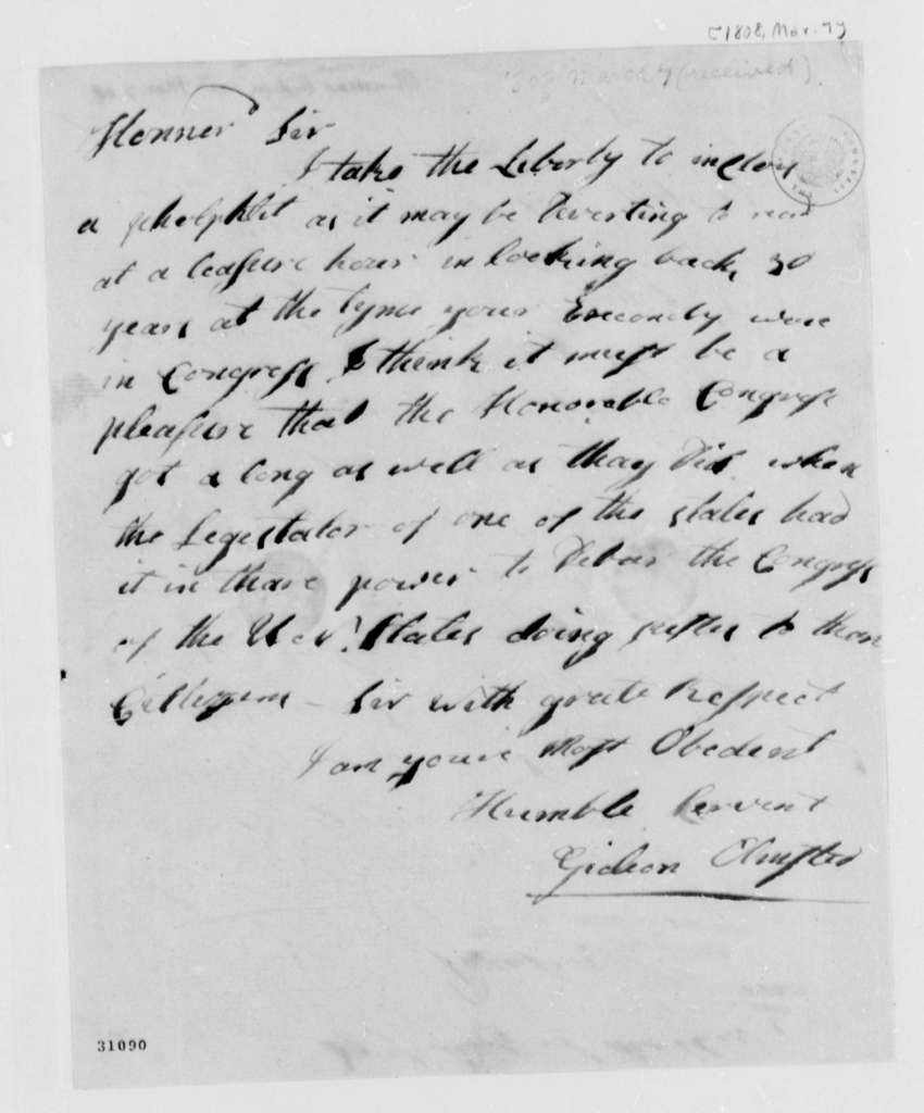Gideon Olmsted to Thomas Jefferson, March 7, 1808
