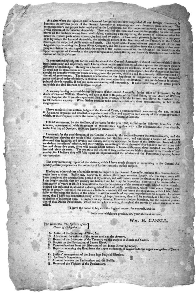 Governor's letter. Richmond, December 5th, 1808.. [Signed] Wm. H. Cabell.