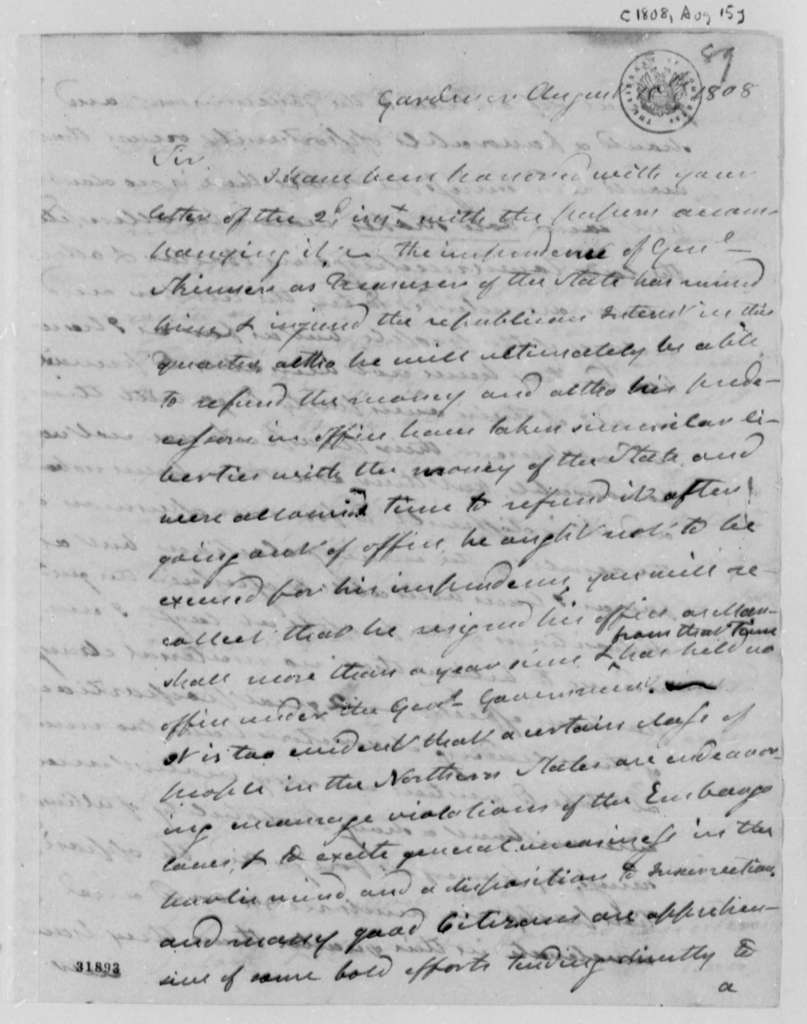 Henry Dearborn to Thomas Jefferson, August 15, 1808