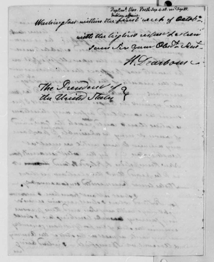 Henry Dearborn to Thomas Jefferson, September 4, 1808