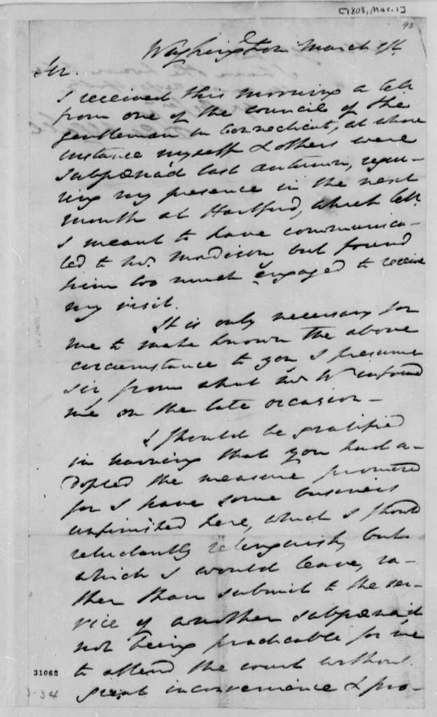 Henry Lee to Thomas Jefferson, March 1, 1808