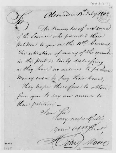 Henry Moore to Thomas Jefferson, February 13, 1808