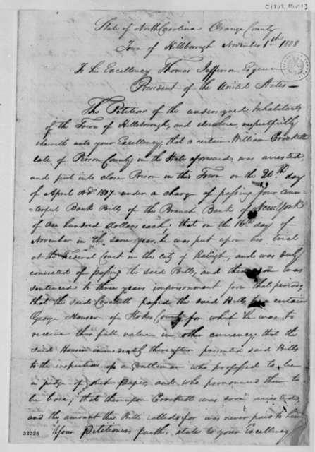 Hillsborough, North Carolina, Citizens to Thomas Jefferson, November 1, 1808