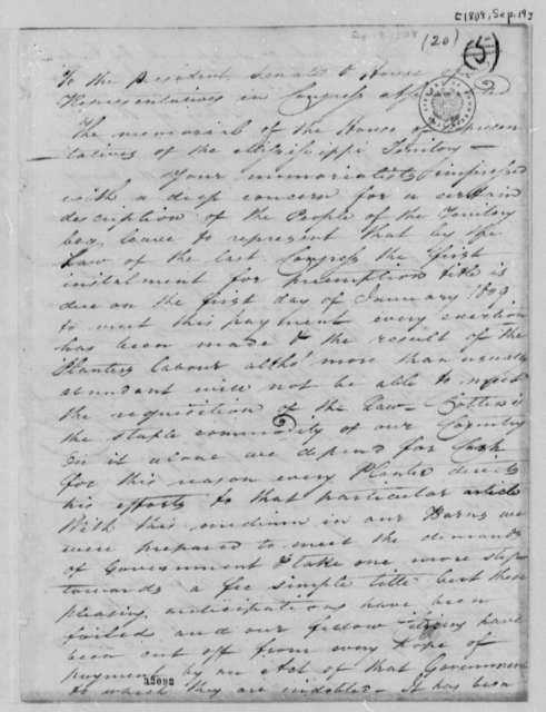 House of Representatives of Mississippi Territory to Thomas Jefferson, September 19, 1808
