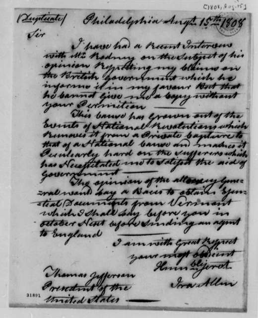 Ira Allen to Thomas Jefferson, August 15, 1808, with Copy