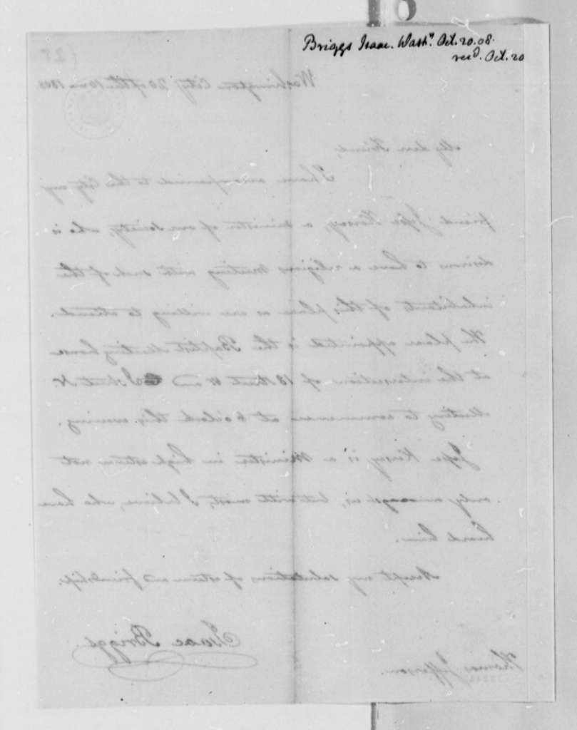 Isaac Briggs to Thomas Jefferson, October 20, 1808