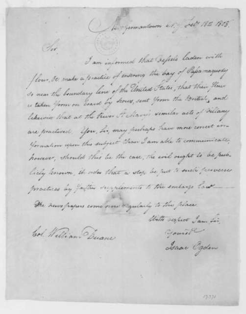 Isaac Ogden to William Duane, February 18, 1808.