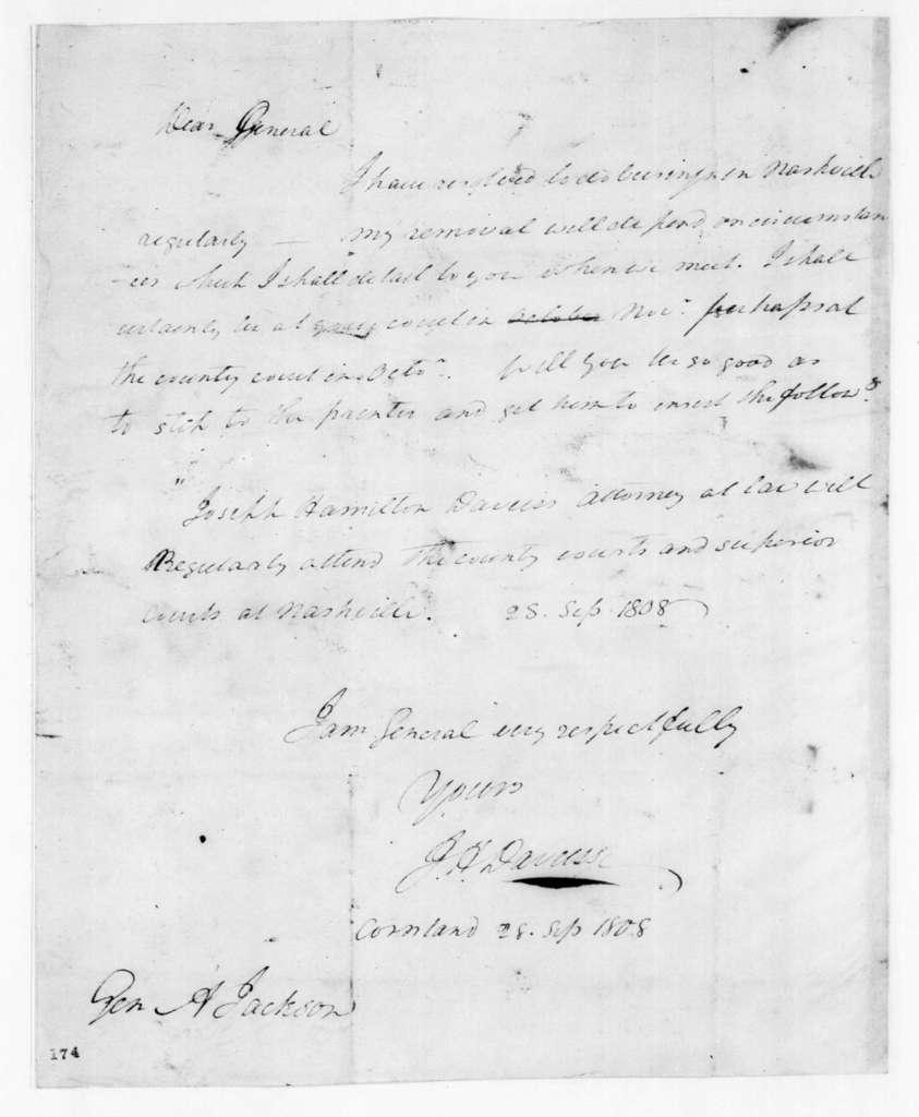 J. H. Davies to Andrew Jackson, September 28, 1808
