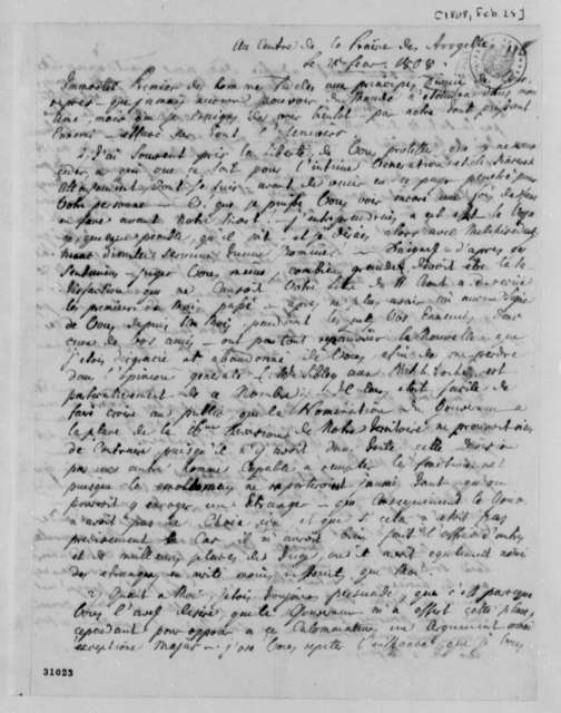J. Philip Reibelt to Thomas Jefferson, February 25, 1808, in French