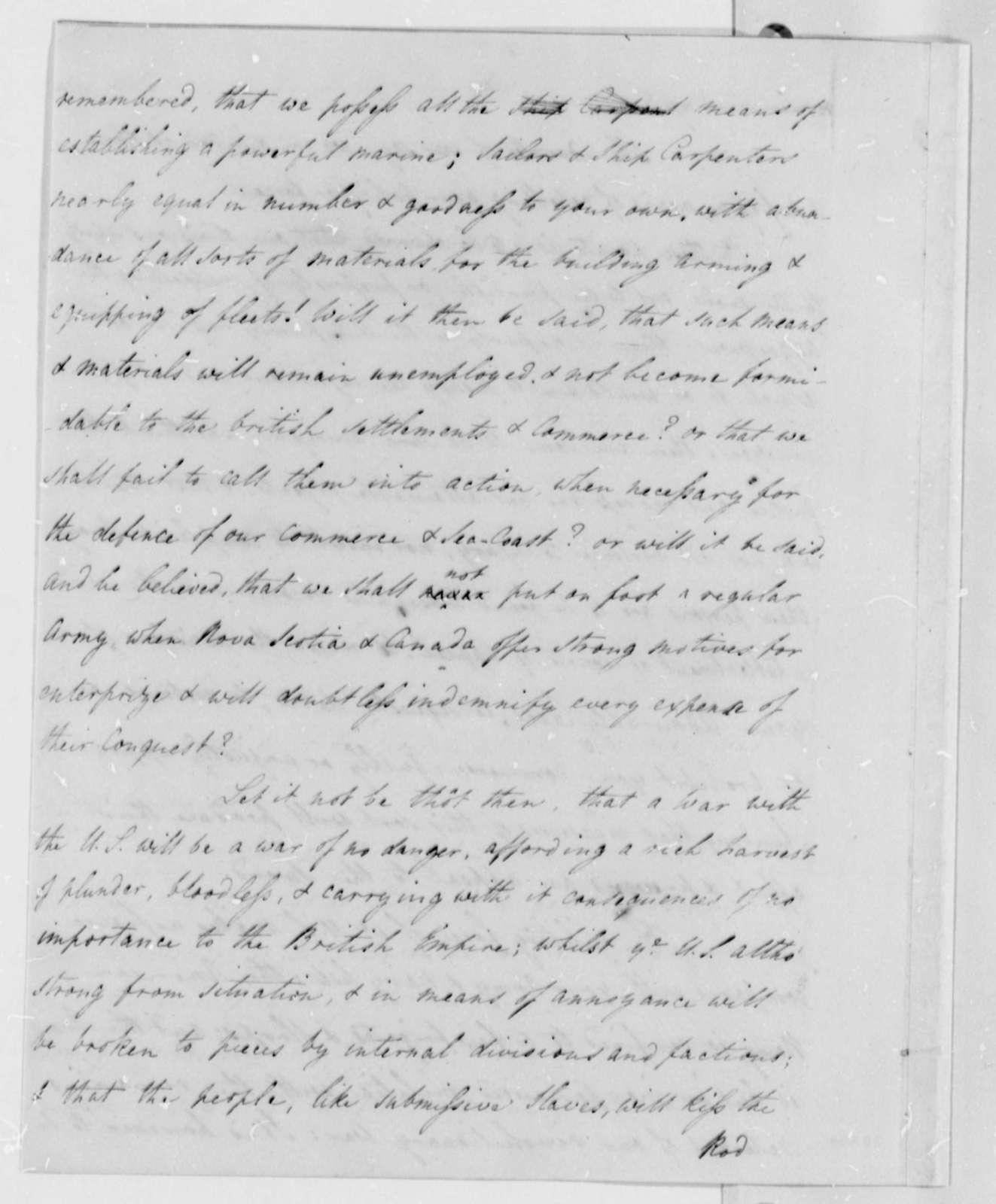 James Bowdoin to David Williams, February 5, 1808