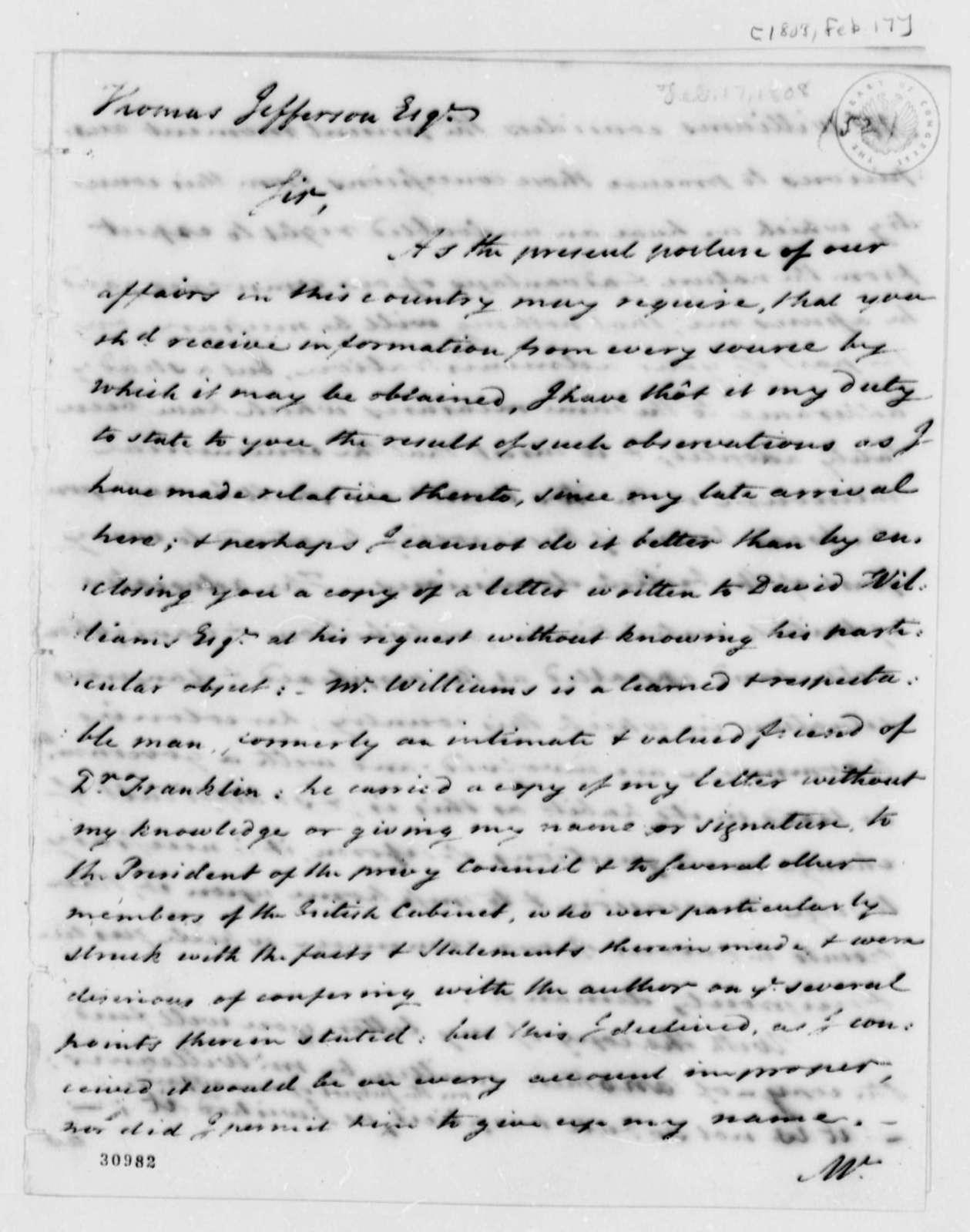 James Bowdoin to Thomas Jefferson, February 17, 1808