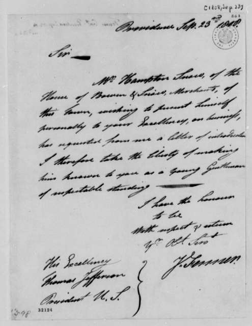 James Fenner to Thomas Jefferson, September 23, 1808