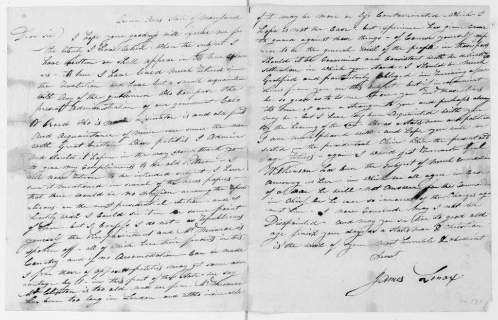 James Lenox to James Madison, January 28, 1808.