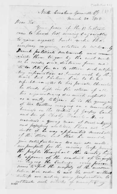 James Lyne to Thomas Jefferson, March 30, 1808