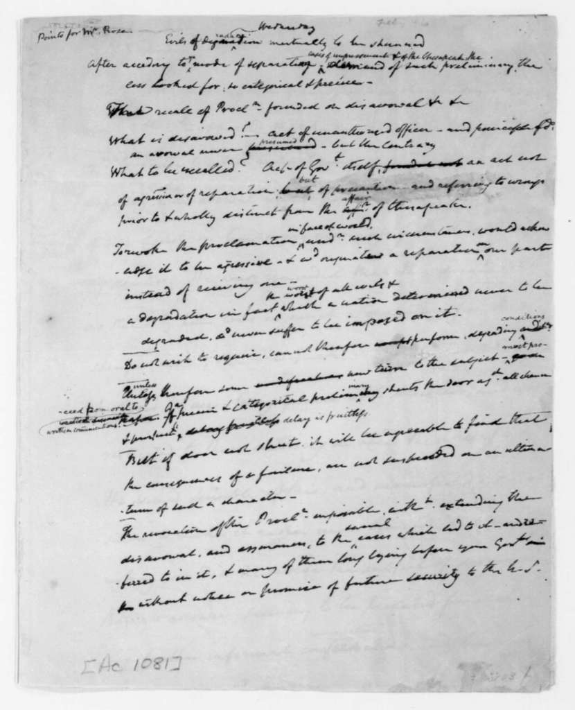 James Madison, February 1, 1808. Notes regarding impressment and an interview with G.H. Rose, dated Feb 25, 1808.