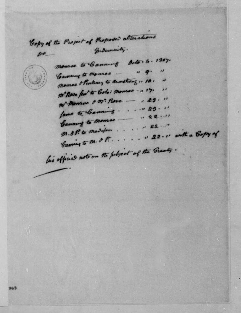 James Madison, March, 1808. Lists of letters from James Monroe for Congress.