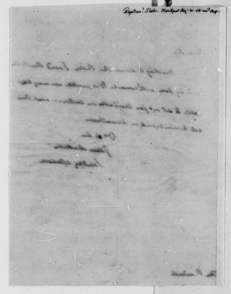 James Madison to Thomas Jefferson, August 21, 1808