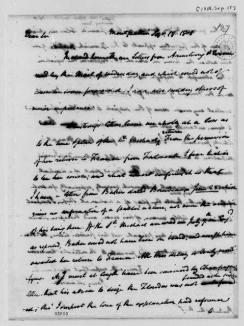 James Madison to Thomas Jefferson, September 18, 1808
