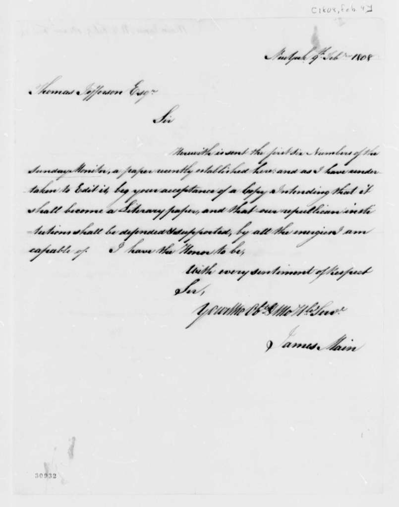 James Main to Thomas Jefferson, February 9, 1808