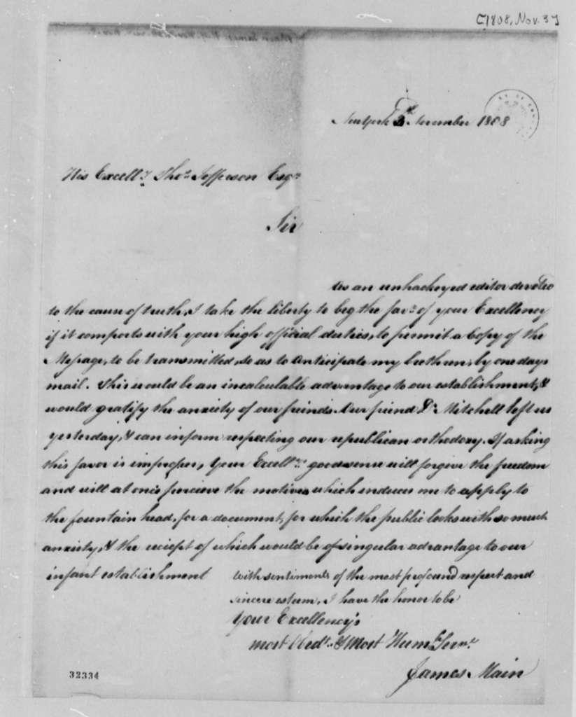 James Main to Thomas Jefferson, November 3, 1808