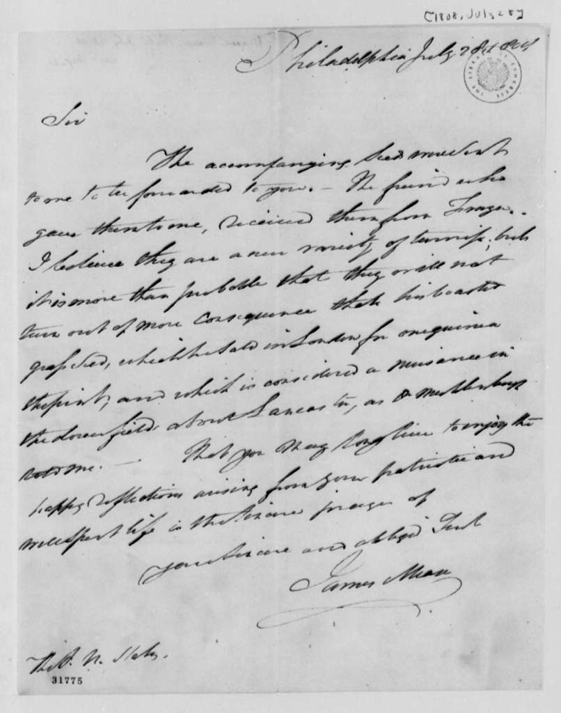 James Mease to Thomas Jefferson, July 28, 1808