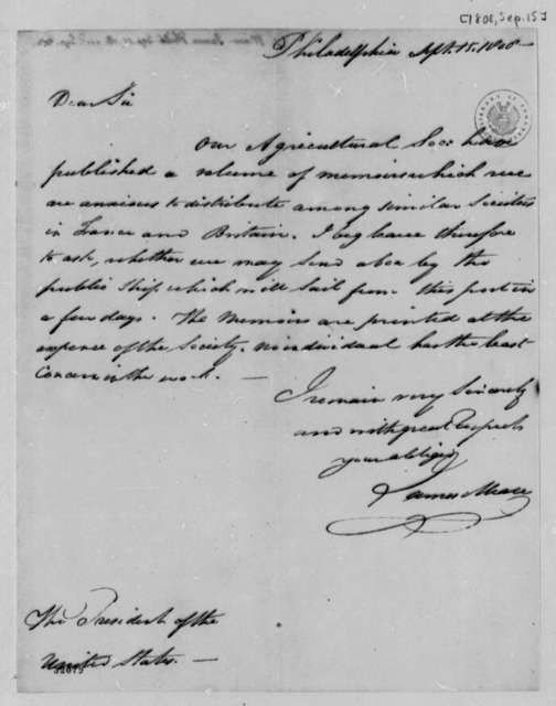 James Mease to Thomas Jefferson, September 15, 1808