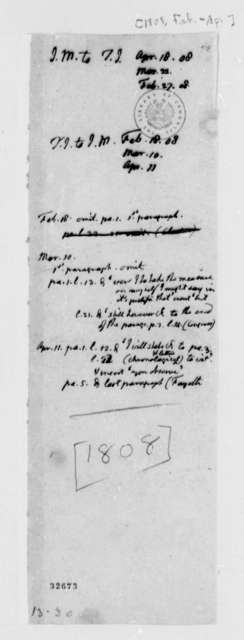 James Monroe, February 1808, Correspondence with Thomas Jefferson with Memorandum