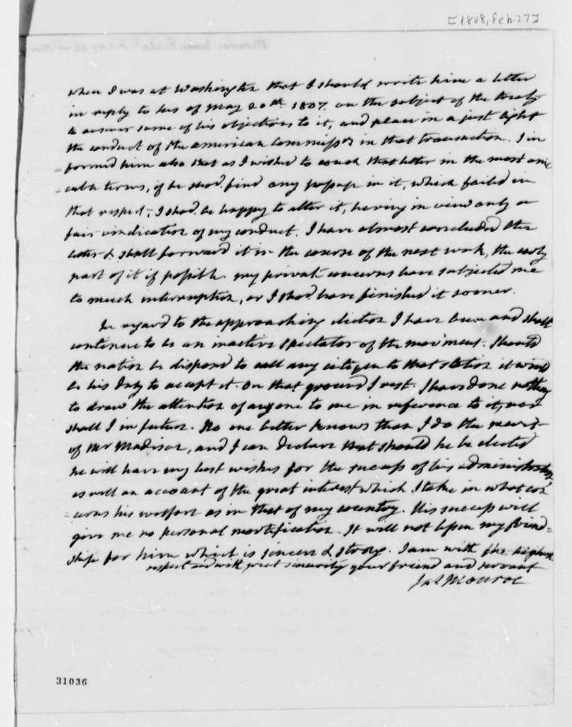 James Monroe to Thomas Jefferson, February 27, 1808