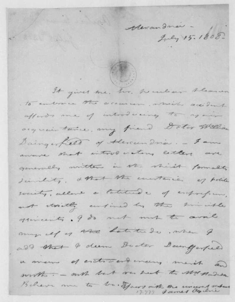 James Ogilvie to James Madison, July 15, 1808.