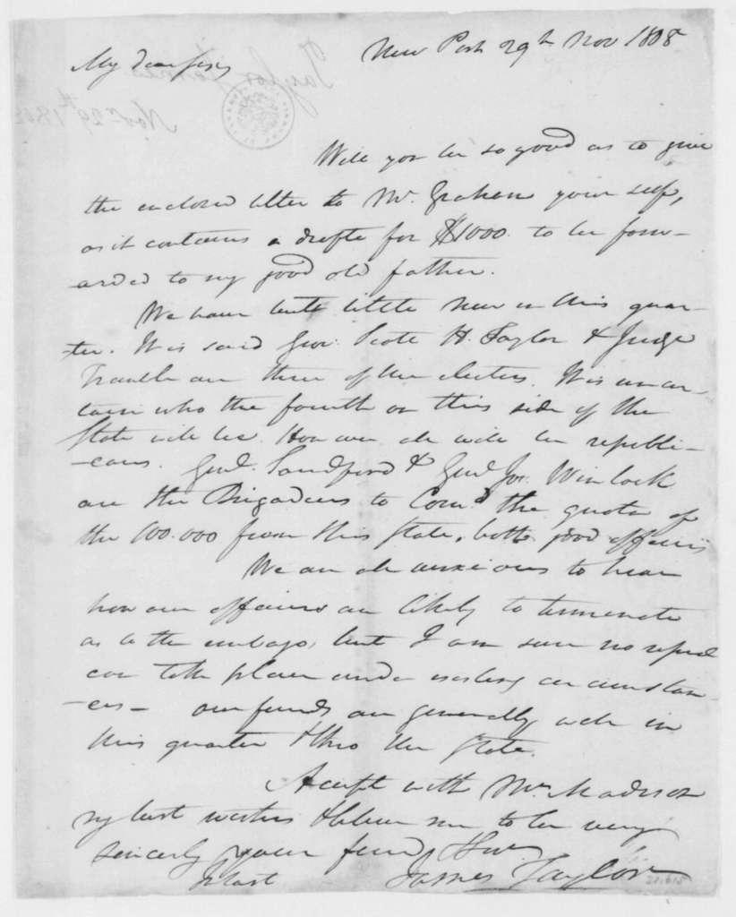 James Taylor to James Madison, November 29, 1808.