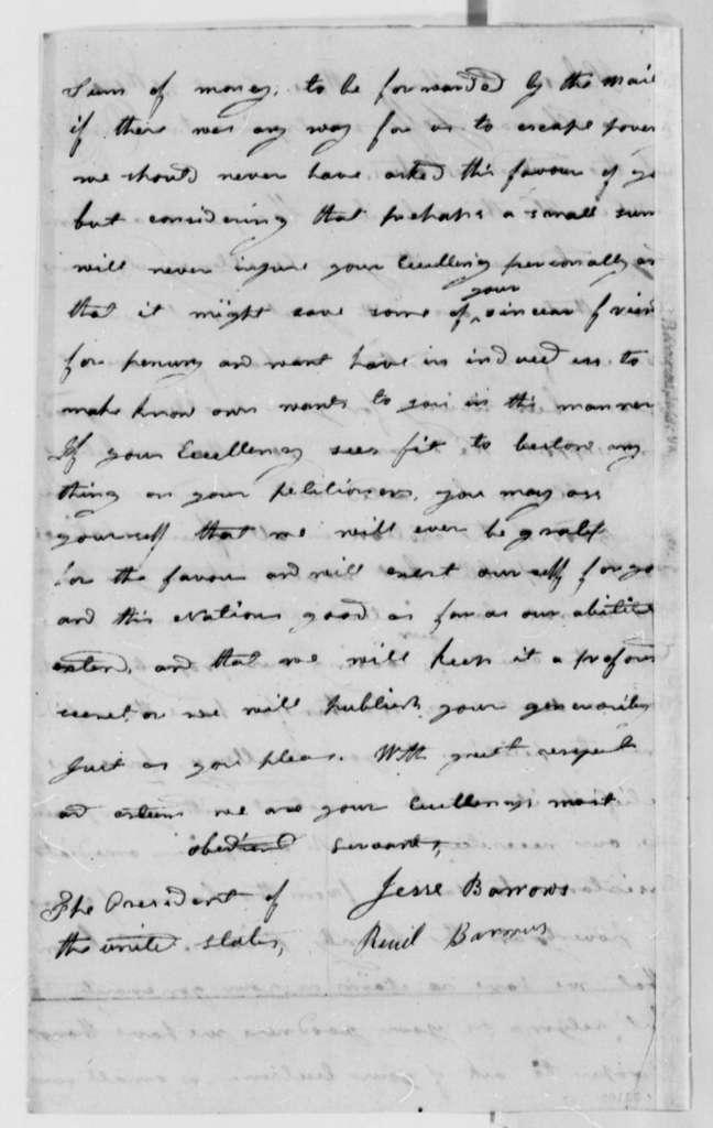 Jesse Barrows to Thomas Jefferson, September 21, 1808