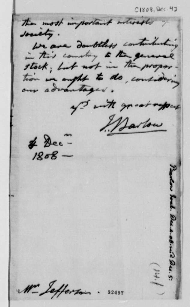 Joel Barlow to Thomas Jefferson, December 4, 1808