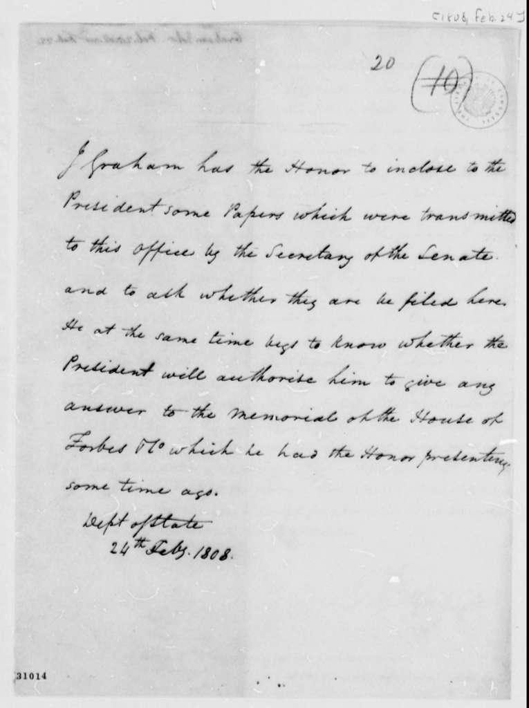 John A. Graham to Thomas Jefferson, February 24, 1808