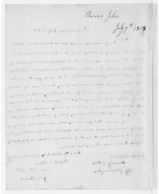 John Binns to James Madison, July 7, 1808.