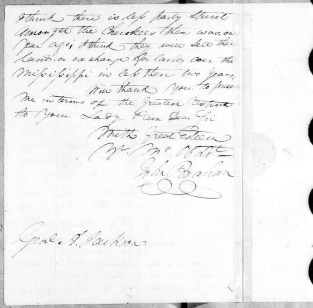 John Brahan to Andrew Jackson, November 1, 1808
