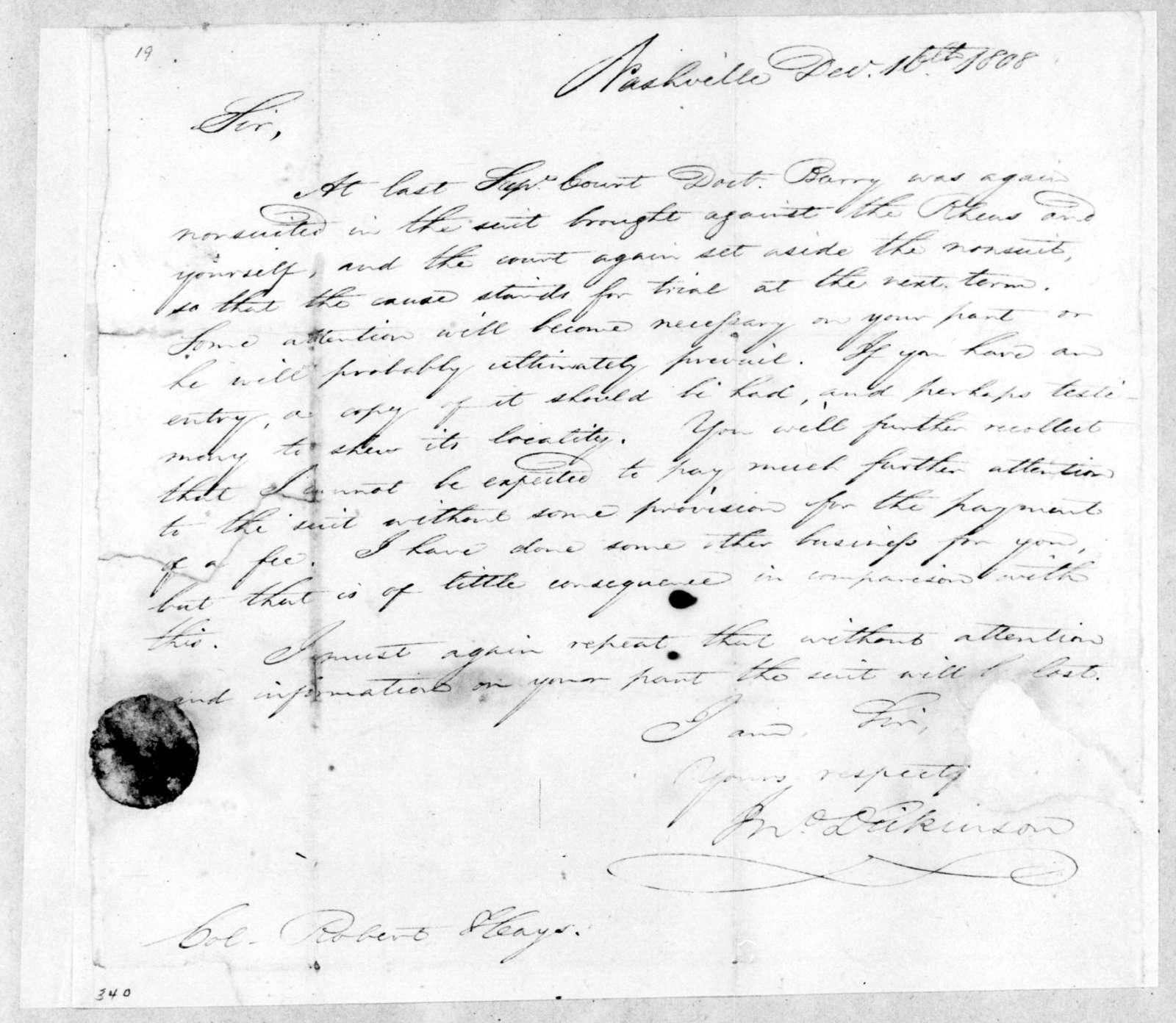 John Dickinson to Robert Hays, December 16, 1808