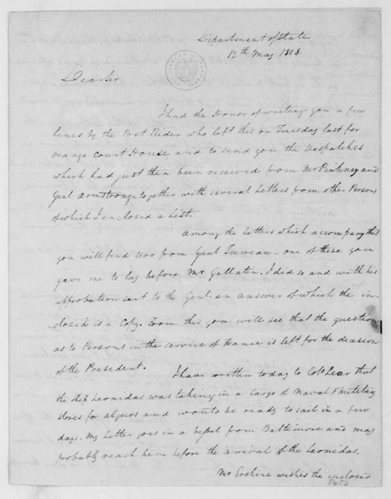 John Graham to James Madison, May 12, 1808.