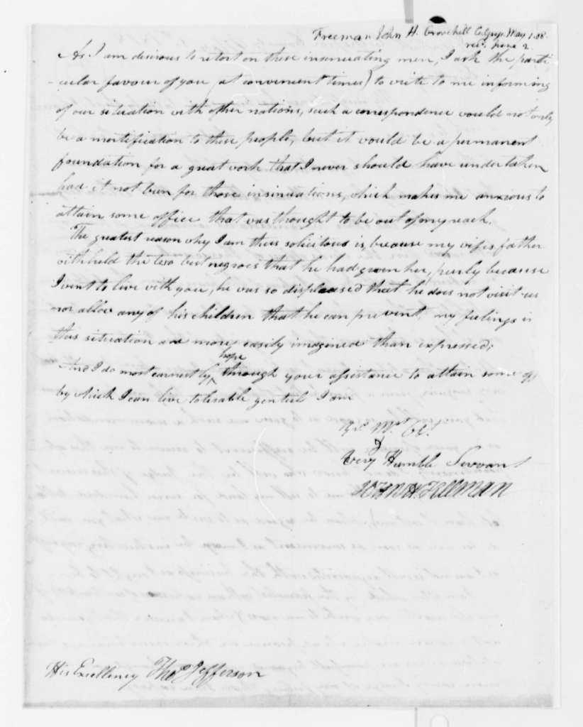 John H. Freeman to Thomas Jefferson, May 1, 1808