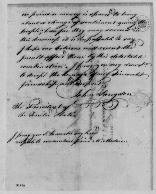 John Langdon to Thomas Jefferson, August 13, 1808