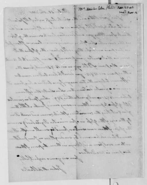 John McAllister to Thomas Jefferson, November 25, 1808