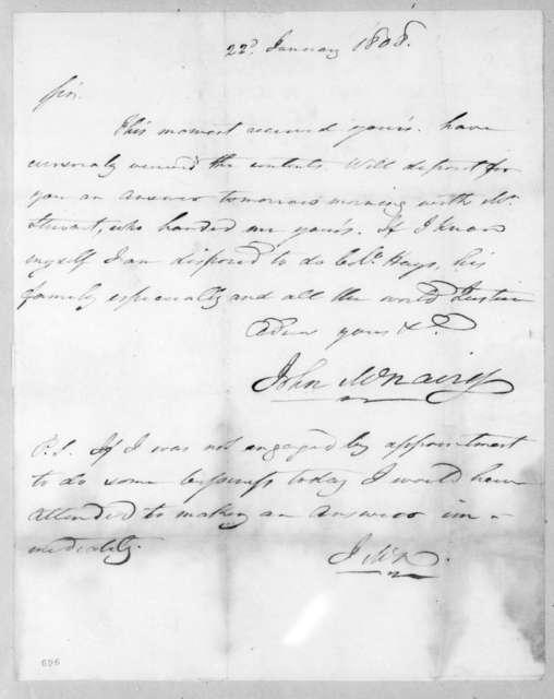 John McNairy to Andrew Jackson, January 22, 1808