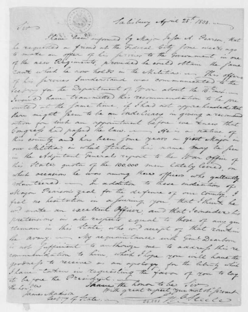 John Steele to James Madison, April 25, 1808.