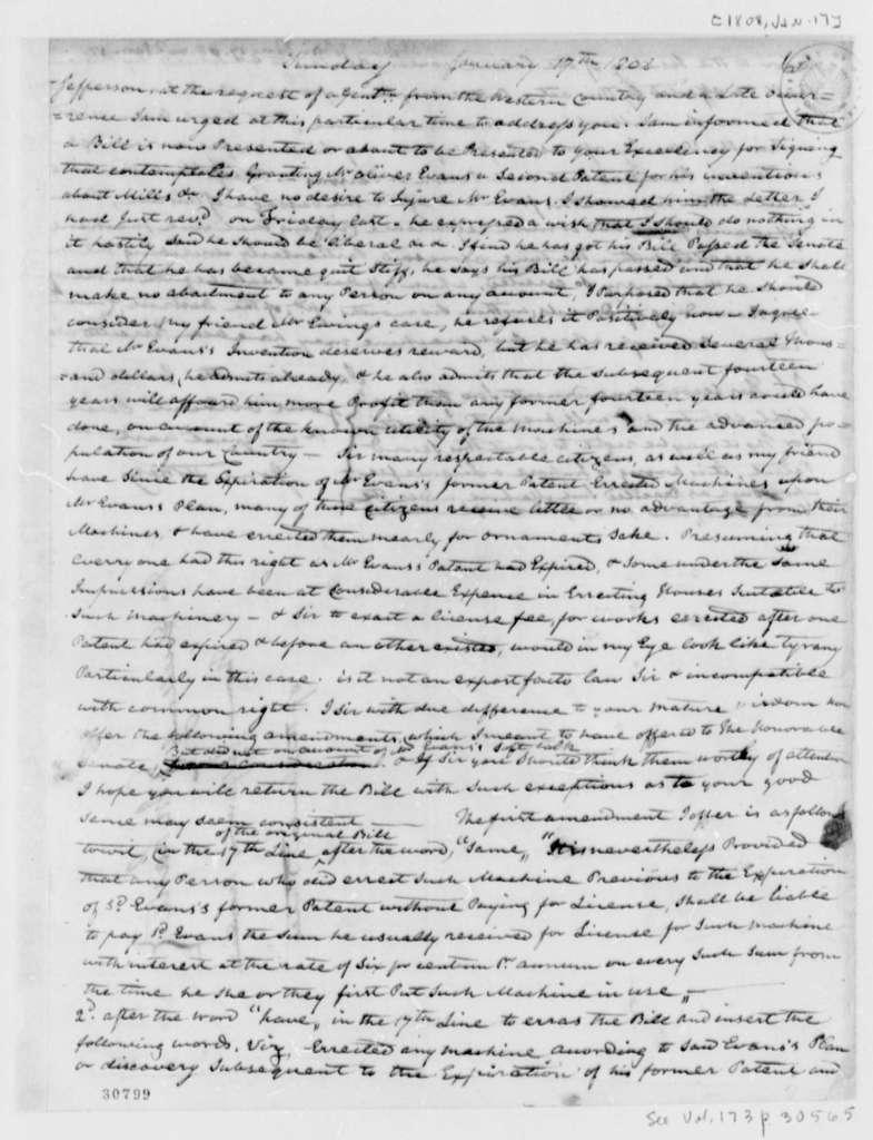 John Stokely to Thomas Jefferson, January 17, 1808