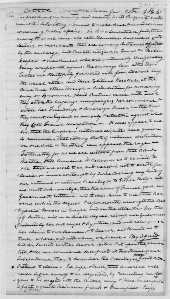 John Stokely to Thomas Jefferson, January 20, 1808