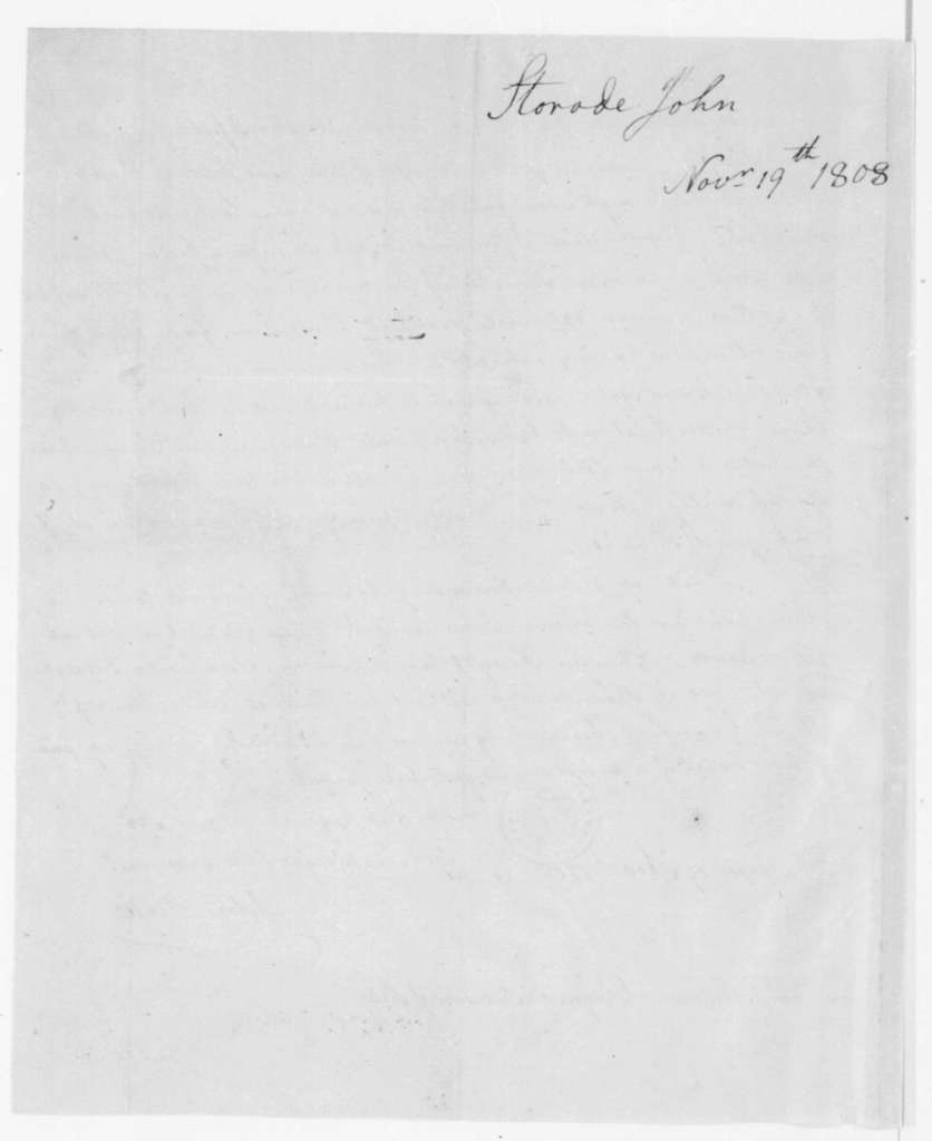 John Strode to James Madison, November 19, 1808.