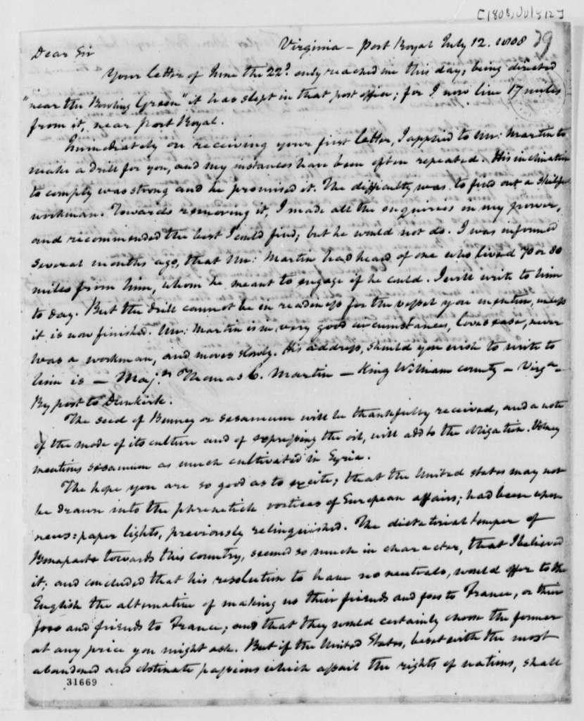 John Taylor to Thomas Jefferson, July 12, 1808