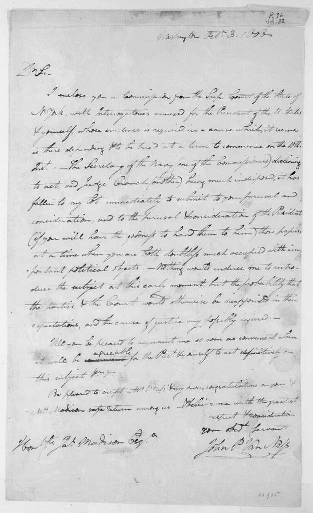 John Van Ness to James Madison, October 3, 1808